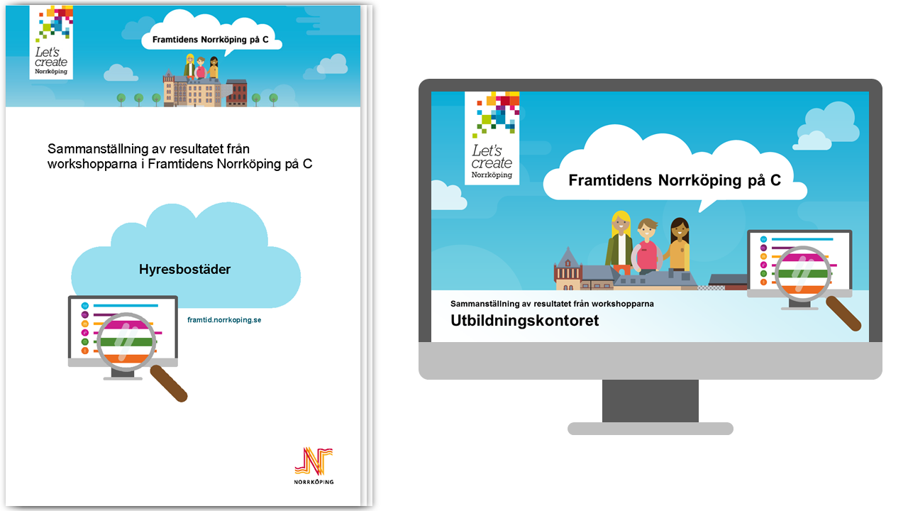Illustration av två typer av filer - pdf-dokument och powerpointpresentation